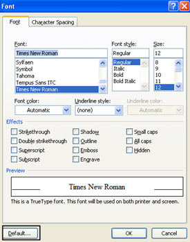 font window How to Change the Default Settings in Microsoft Word 2007 How to Change the Default Settings in Microsoft Word 2007 font window thumb