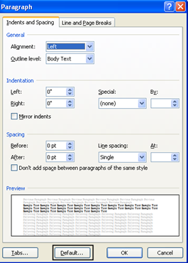 paragraph window How to Change the Default Settings in Microsoft Word 2007 How to Change the Default Settings in Microsoft Word 2007 paragraph window thumb