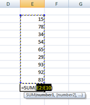 excel after autosum