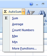excel autosum drop down