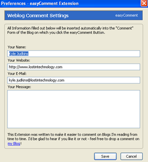easycomment preferences Comment Faster with EasyComment