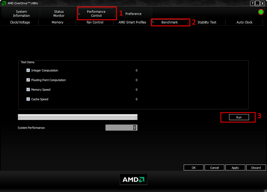 AMD OverDrive Benchmark AMD overdrive