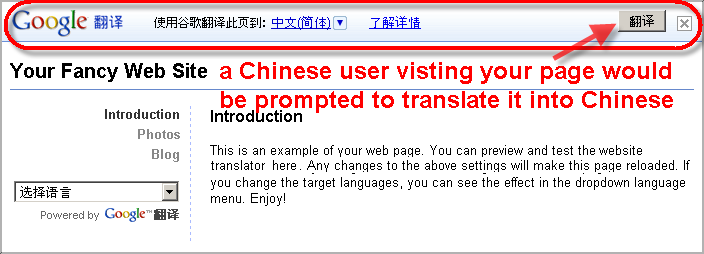 The page [with the help of Website Translator Widget] asks the Chinese to translate the language.