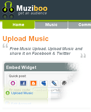 muziboo home 2 Sites to Upload and Share Your Songs