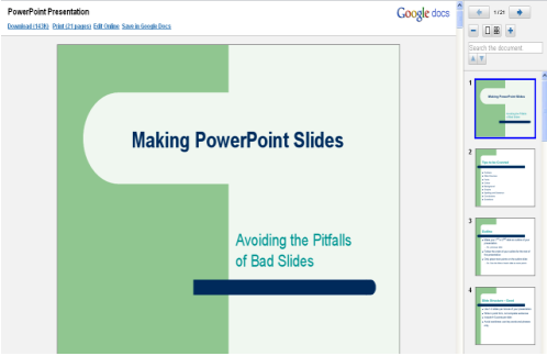 Sample powerpoint presentation in Google Docs in Google Chrome