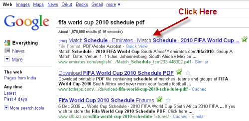 Example of Google search result of PDF document
