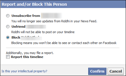 confirm blocking block unblock facebook