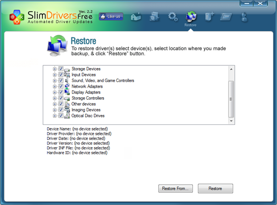 restore drivers drivers backup
