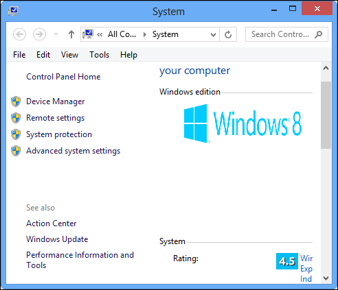 advance system settings windows 8