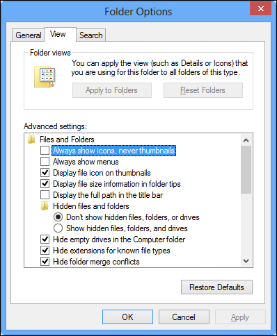 folder option windows 8