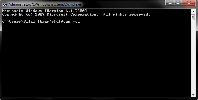 Shutdown Windows Operating System with Command Prompt